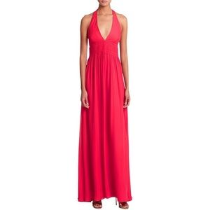 Nicole Miller Dress NWT SZ 4 Red Halter Maxi Silk